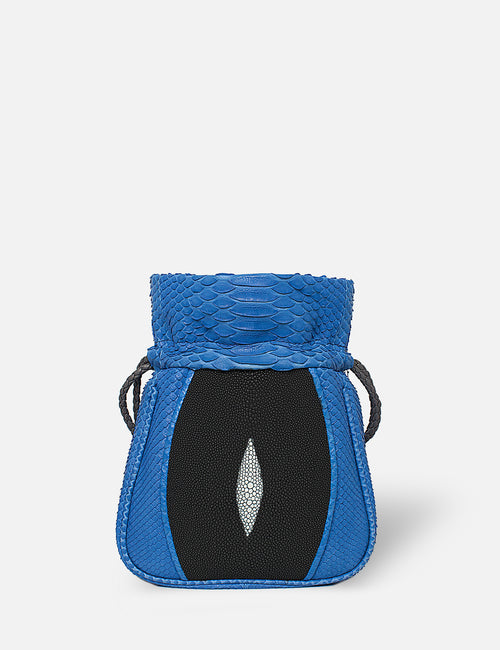 Khirma New York Unique Luxury Exotic Skin Python & Stingray Designer Mignonne Pouch in Cobalt Blue . Designed to be worn over the shoulder or as a cross body. Perfect for the day and night. Available black and grey python.