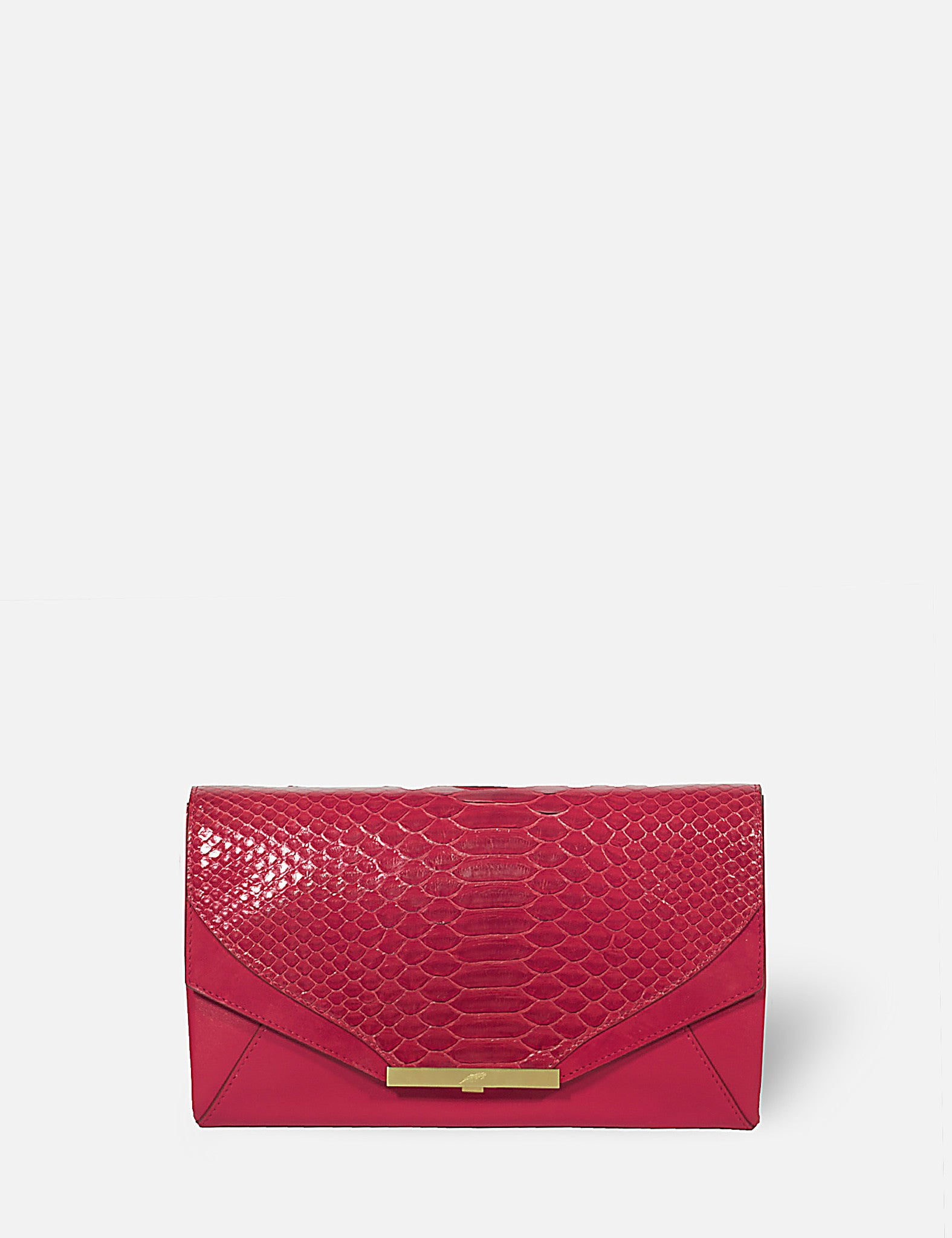 Khirma New York Unique Luxury Designer Exotic Watersnake Python Skin Envelope Clutch Purse. Removable chain for the perfect evening clutch. One inner pocket and six card slots. Red.