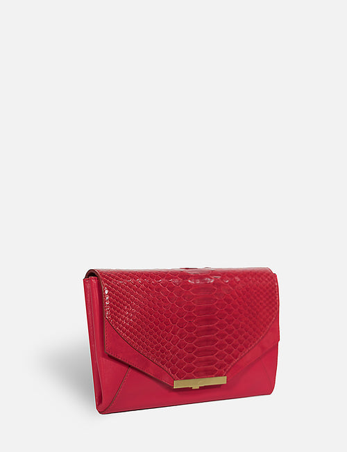 Khirma New York Unique Luxury Designer Exotic Watersnake Python Skin Envelope Clutch Purse. Removable chain for the perfect evening clutch. One inner pocket and six card slots. Red