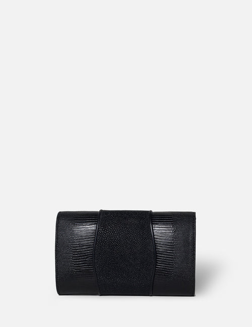 Khirma New York Unique Luxury Designer Exotic Lizard and Stingray Skin Envelope Clutch Purse in Black. Removable chain for the perfect evening clutch
