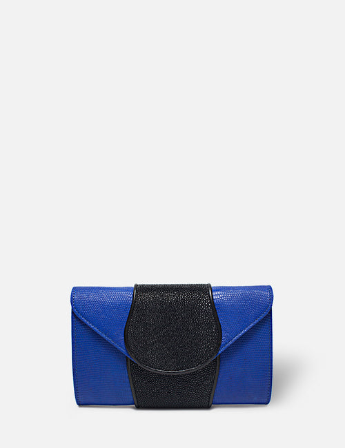 Khirma New York Unique Luxury Designer Exotic Lizard and Stingray Skin Envelope Clutch Purse in Blue. Removable chain for the perfect evening clutch