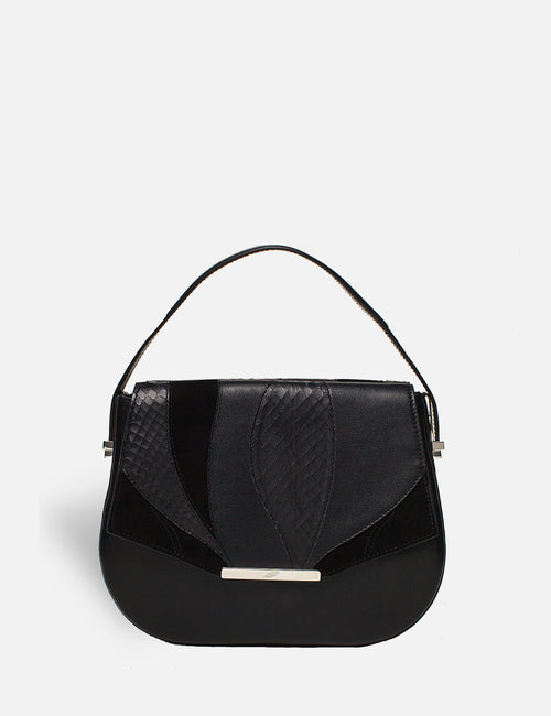 Khirma New York Unique Luxury Black Leather & Suede Designer Saddle Handbag. Removable crossbody strap.