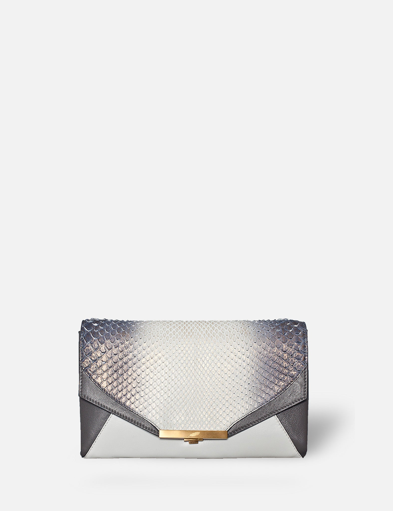 Khirma New York Unique Luxury Designer Exotic Watersnake Python Skin Envelope Clutch Purse. Removable chain for the perfect evening clutch. One inner pocket and six card slots. White with brushed gold ombre