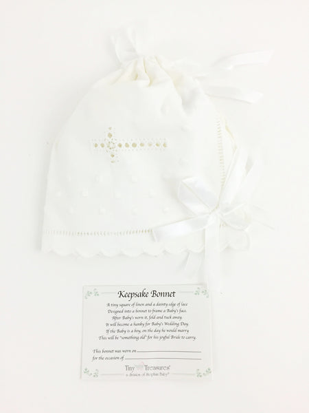 Keepsake Bonnet Unfolds into a Hanky on Baby's Wedding Day