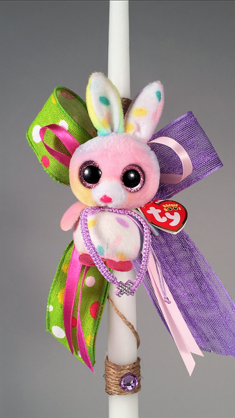 Ty Beanie Boos Bunny Keychain with Adjustable Rhinestone Cross Bracelet