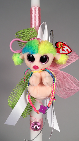 Ty Beanie Boos Poodle Keychain with Adjustable Cross Bracelet