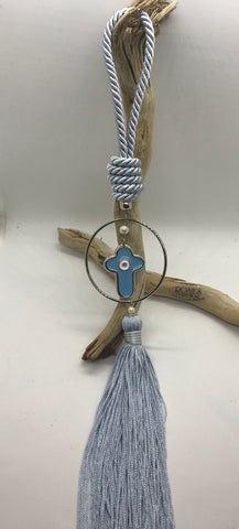 Gouri 29 Baby Blue Rope, Silver Hoop With Baby Blue Cross and Large Tassel