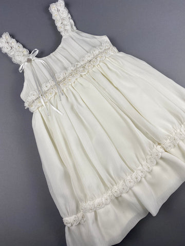 Dress 35 Girls Baptismal Christening Sleeveless  3pc  Dress, matching Bolero and Hat. Made in Greece exclusively for Rosies Collections.