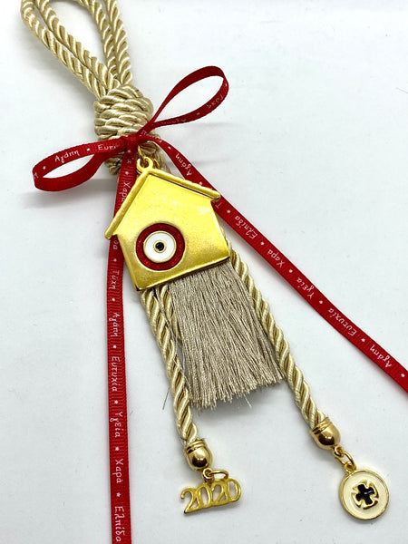 Red Evil Eye Mati House Gouri with Metal Cross and 2020 Charms
