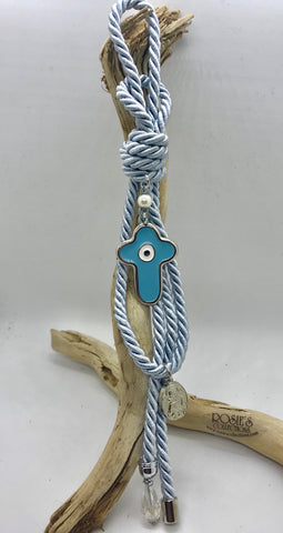 Gouri 27 Baby Blue Rope With Large Metal Baby Blue Cross With Mati and Hanging Panagia Pendant