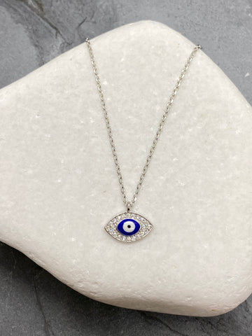 "925"" Sterling Silver Evil Eye Mati Necklace with Rhinestones SN9"