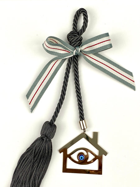 Polished Metal House with Evil Eye Bead on dark grey rope with tassel