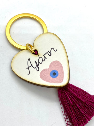 Agapi Love Wooden Keychain with Tassel