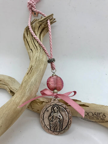 Gouri 6 Pink Rope with Jesus Pendant, Butterfly Mati and Large Pink Murano Glass