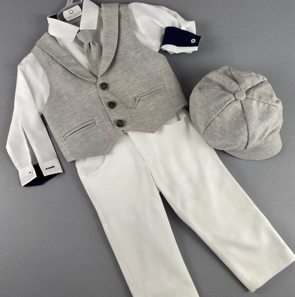 Rosies Collections 7pc full suit, Dress shirt trimmed with navy blue and cuff sleeves, Pants, Jacket with Matching Vest, Belt or Suspenders, Cap. Made in Greece exclusively for Rosies Collections