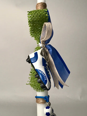 Greek Soccer Shoe Keychain with Begleri