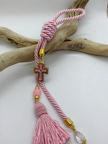 Gouri 9 Pink Rope with Gold/Pink Metal Cross