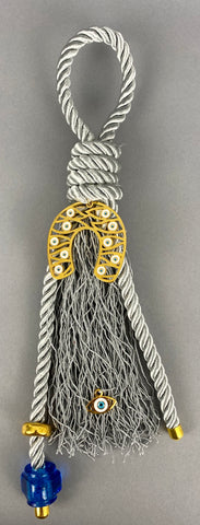 "Gouri 1017 Pearl Grey Cord Gouri, large Metal  Lucky Mati Horseshoe, large Murano Glass Bead.  Measures 14"" in length."