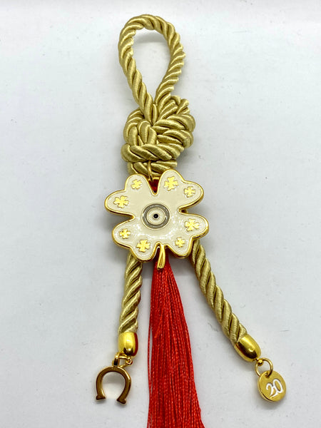 Good Luck Metal  Four Leaf Clover Gouri with Charms and Tassel