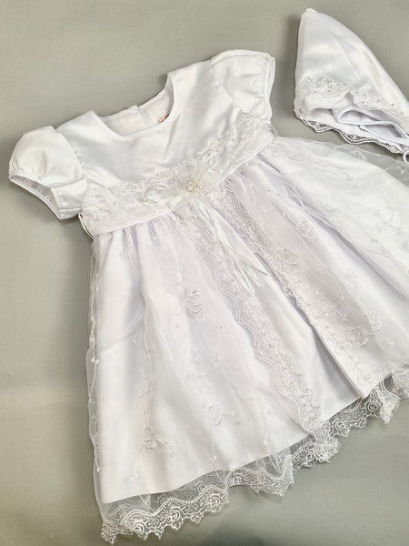 Dress 8 Girls Christening Baptismal Embroidered Lace Pearl Beaded Dress with Matching Hat
