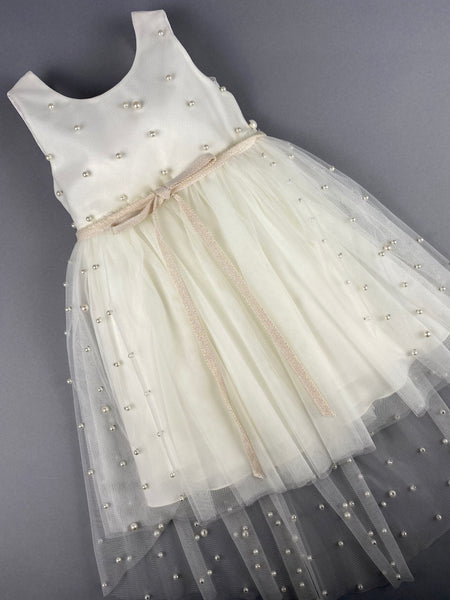 Dress 33 Girls Baptismal Christening Sleeveless  3pc Pearl  Dress with removable skirt, matching Bolero and Hat. Made in Greece exclusively for Rosies Collections.
