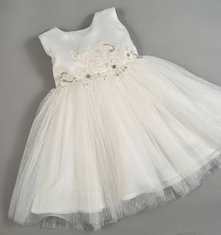 Dress 1 Girls Christening Baptismal Embroidered Dress with Rhinestone Flowers and Hair Band