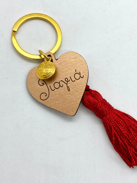 Wooden Heart with Konstantinata Charm and Tassel for Grandmothers