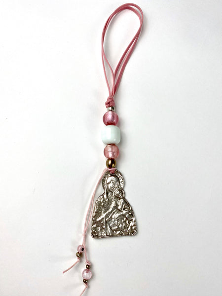 "Panagia Icon with pink Murano Beads, and Mati beads 10"" length"