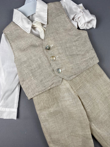 Rosies Collections 7pc full Linen suit, Dress shirt With Cuff sleeves, Pants, Jacket, Vest, Belt or Suspenders, Cap. Made in Greece exclusively for Rosies Collections