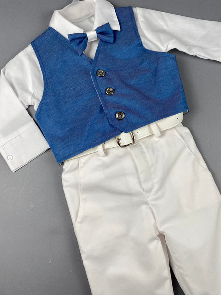 Rosies Collections 7pc full suit, Dress shirt With Cuff sleeves, Pants, Blue Jacket,  Blue Vest, Belt or Suspenders, Cap. Made in Greece exclusively for Rosies Collections