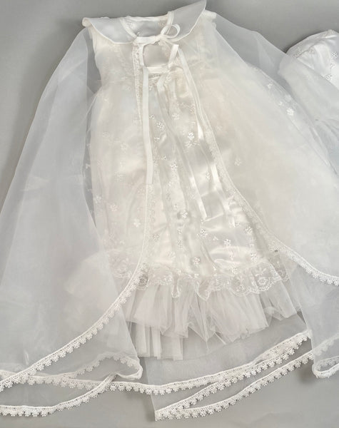 Lace Gown 4 Girls Christening Baptismal Embroidered Lace Gown with Matching Cape and Hat