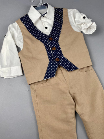 Rosies Collections 7pc full suit, Trimmed Dress shirt With Cuff sleeves, Linen Pants, Jacket,  Linen Vest, Belt or Suspenders, Cap. Made in Greece exclusively for Rosies Collections