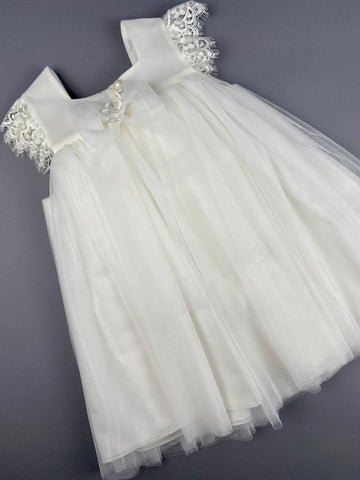 Dress 29 Girls Baptismal Christening Sleeveless  3pc Dress with long  matching Bolero and Hat. Made in Greece exclusively for Rosies Collections.