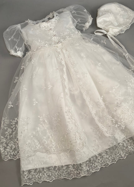 Lace Gown 2 Girls Christening Baptismal Embroidered Lace Gown with Matching Cape and Hat
