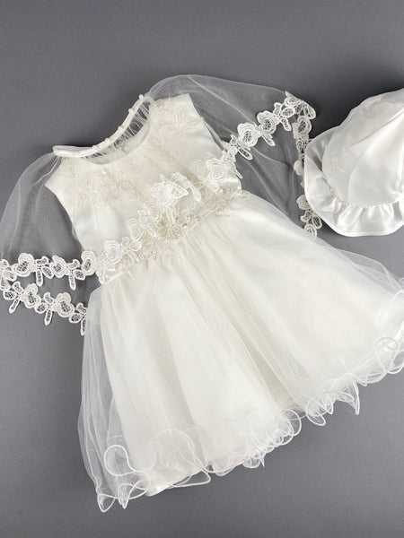 Girls Christening Baptismal Embroidered 3pc Dress 44 with Pearls, Embroidered Cape and Hat
