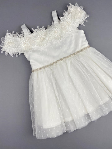 Girls Christening Baptismal Embroidered Dress 45 with Rhinestone Belt and Pearl Flowers