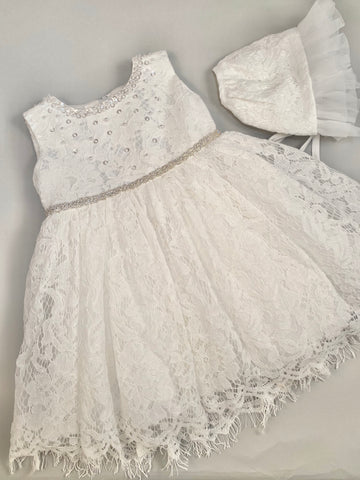 Dress 5 Girls Christening Baptismal Lace Dress with Pearls,  Rhinestone Belt and Matching Hat