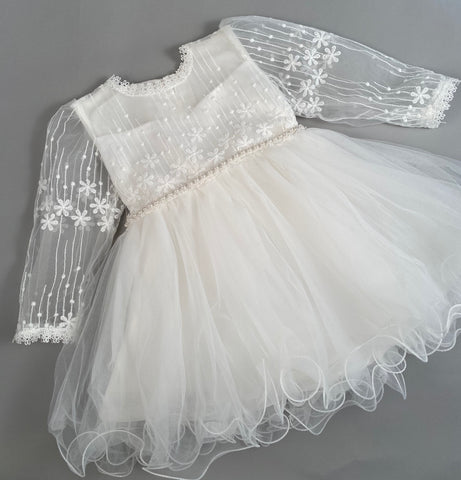 Dress 2 Girls Christening Baptismal Embroidered Dress with Sleeves and Pearl Belt