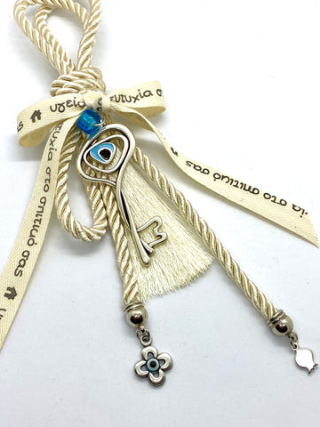 Metal Evil Eye Mati Key with Charms and Tassel