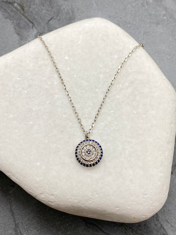 "925"" Sterling Silver Large Evil Eye Mati Necklace with Rhinestones SN3"