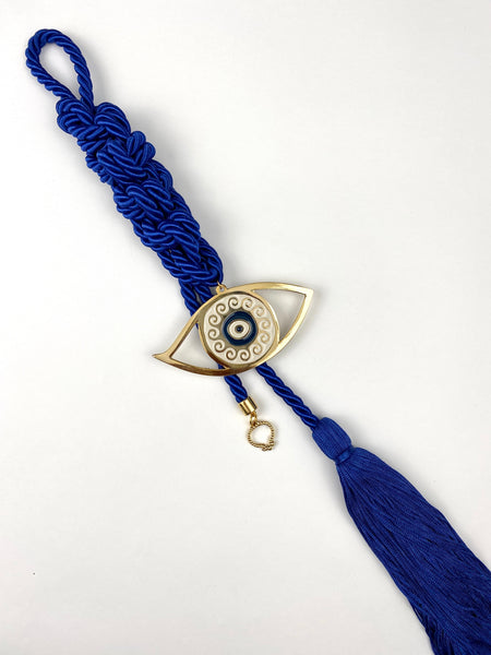 Large Evil Eye Gouri on Navy Blue Double Corded Braid with long Tassel