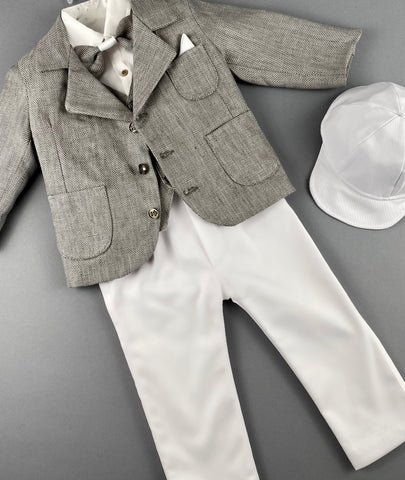 Rosies Collections 7pc full suit, Dress shirt with cuff sleeves, Bow Tie, Pants, Jacket with Matching Vest,  Belt or Suspenders & Cap. Made in Greece exclusively for Rosies Collections