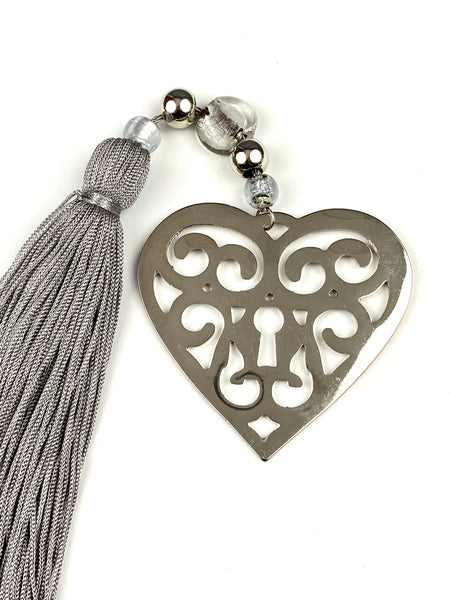 Large Polished Metal Heart Gouri with Grey Tassel