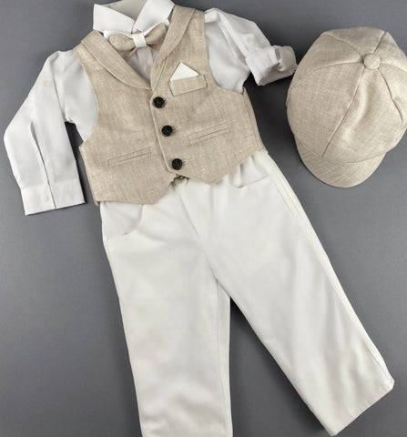 Rosies Collections 7pc full suit, Dress shirt with cuff sleeves, Bow Tie, Pants, Blazer, Vest,  Belt or Suspenders & Hat. Made in Greece exclusively for Rosies Collections