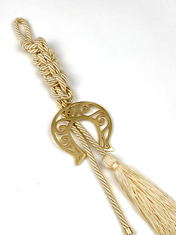 Large Polished Lucky Horseshoe Gouri on Champagne Double Corded Braid