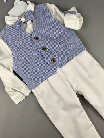 Rosies Collections 7pc full suit, Dress shirt Trimmed with Blue Stripe,Cuff sleeves, White Pants, Blue Pinstripe Jacket, Vest, Belt or Suspenders, Cap. Made in Greece exclusively for Rosies Collections