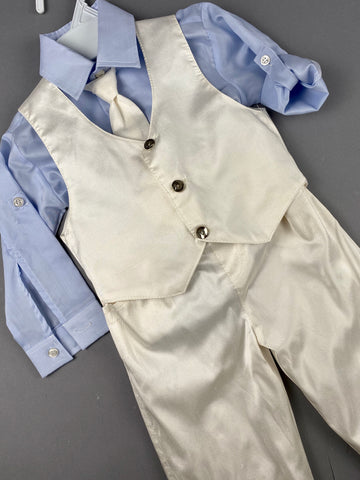 Rosies Collections 7pc full silk suit, Light Blue Dress shirt, Cuff sleeves, Pants, Jacket, Vest, Belt or Suspenders, Cap. Made in Greece exclusively for Rosies Collections