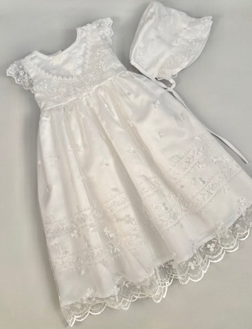 Lace Gown 3 Girls Christening Baptismal Lace Embroidered Gown with Matching Hat