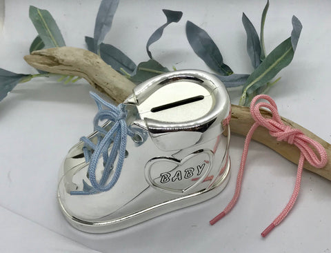 Baby Shoe Bank with Baby Blue and Pink Laces