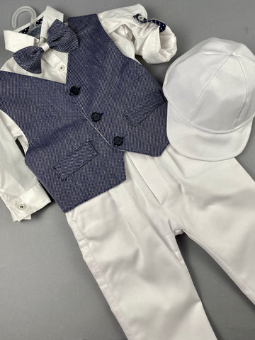 Rosies Collections 7pc full suit, Trimmed Dress shirt, Cuff sleeves, Pants, Jacket, Vest, Belt or Suspenders, Cap. Made in Greece exclusively for Rosies Collections